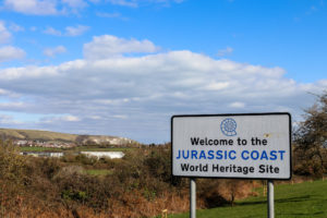 Purbeck Hills and Jurassic Coast World Heritage Site welcome sign, Swanage
