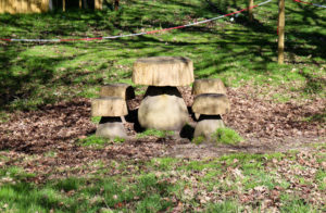 Toadstool-shaped wooden picnic bench for children at Arne