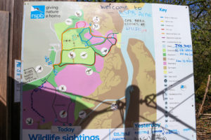 Route map at RSPB Arne with ranger's notes written on it