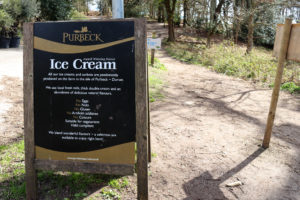 Sign for Purbeck Ice Cream at the start of Arne's Shipstal Trail