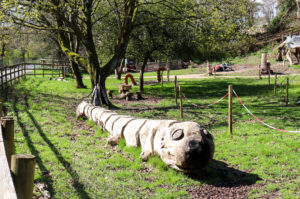 Wooden caterpillar for children at the RSPB Arne Nature Reserve