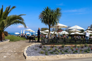 People in the beer garden of Studland's Bankes Arms Inn