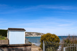 Spa Retreat bungalow in Swanage with Ballard Down behind