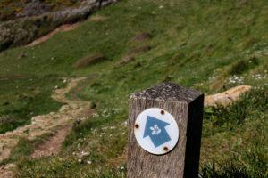 National Trust walking route marker for Dancing Ledge