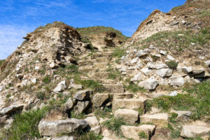 Stone steps leading down to the base of the cliff at Dancing Ledge