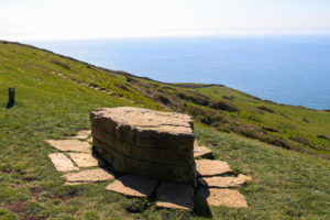 Stone bench viewpoint to Dancing Ledge