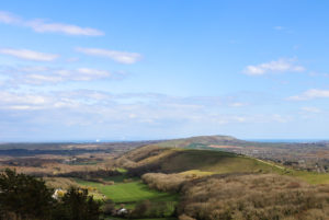 Cloud shadows on the Purbeck Hills, viewed from Creech Barrow