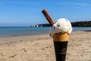 Purbeck Ice Cream cone at South Beach, Studland