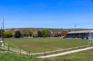 Swanage FC playing field with Purbeck Hills behind
