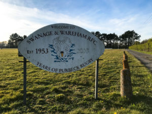 Sign at the entrance of the Swanage & Wareham Rugby Club