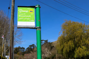 Bus stop in Swanage for Purbeck Breezer No 50 toward Bournemouth