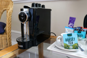 Hot drink-making facilities in a bedroom of Swanage's Grand Hotel