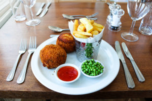 Fishcakes and ships at the Grand Hotel, Swanage