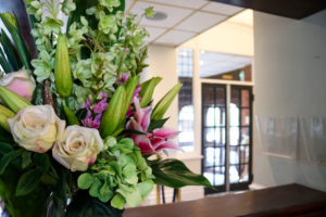 Bouquet of flowers at the receptions area of the Grand Hotel, Swanage
