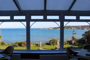 Sea view through the windows of The Grand, Swanage
