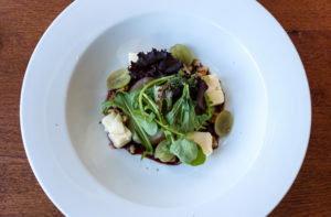 Plate of salad, brie,. pear and walnut at the Grand Hotel, Swanage
