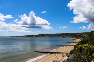 Swanage Beach viewed from the garden of The Grand Hotel