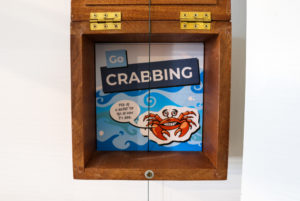 Swanage Pier Visitor Centre 'Go Crabbing' sign