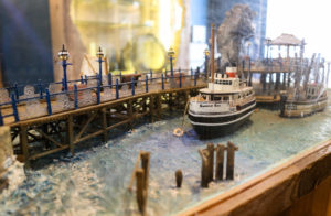 Mini model Swanage Bell ship and pier