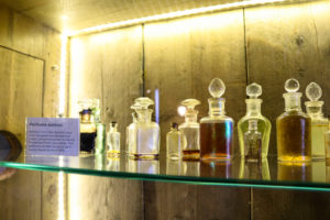 Salvaged perfume bottles on display by the Swanage Pier Trust