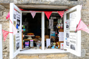 Bunting around window display of Worth Matravers Tea Room