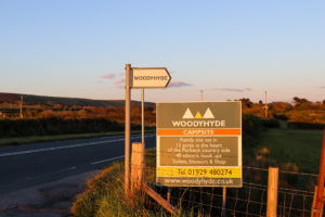 Sign for Woodyhyde Campsite along the Valley Road toward Swanage