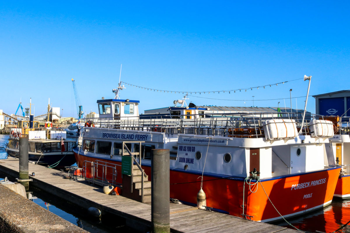 The 'Purbeck Princess' ferry for Brownsea Island Ferry docked at Poole Quay