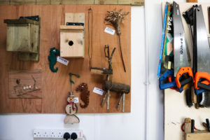 Sample woodworking pieces on display at The Shed,