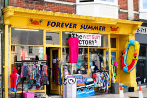 Beach toys and swimwear for sale outside Forever Summer in Swanage