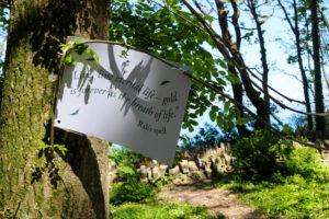 Woodland Clan quote along children's trail, Durlston Castle