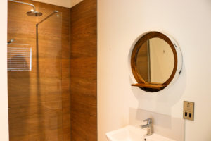 Shower room in a lodge at Swanage Coastal Park