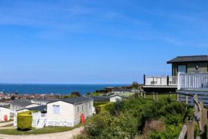 Sea views across Swanage Coastal Park holiday homes