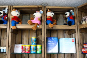 Soft toys, crisps, biscuits, toilet roll for sale at the Swanage Coastal Park Reception area