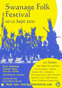Advertisement poster for the 2021 Swanage Folk Festival