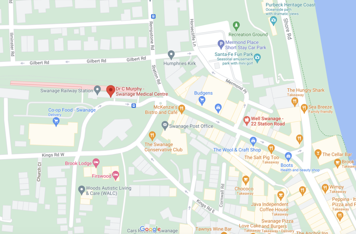 Google Maps showing location of Swanage Medical Practice