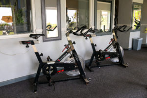 Exercise bikes in the gym room of the Grand, Swanage