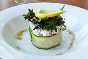 Prawn & cucumber starter, Grand Hotel