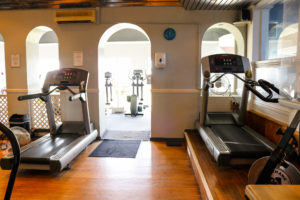 Treadmills in the gym at the Grand, Swanage