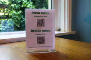QR codes for ordering drinks and pizza at Swanage Youth Hostel