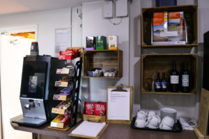 Chocolate snacks and tea & coffee facilities at Swanage's youth hostel