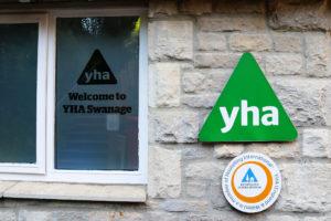 Signage outside Swanage's youth hostel