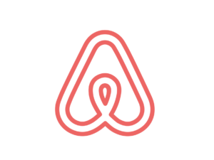 Coral pink/red outline logo, Airbnb