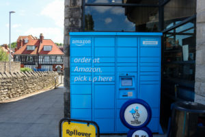 Amazon parcel delivery and collection box at the Co-Op in Swanage