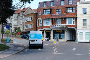 Co-Op delivery van heading out of Swanage