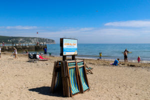 Deckchair hire on the central beach at Swanage