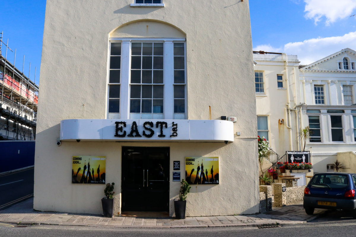 Front entrance of East Bar in Swanage
