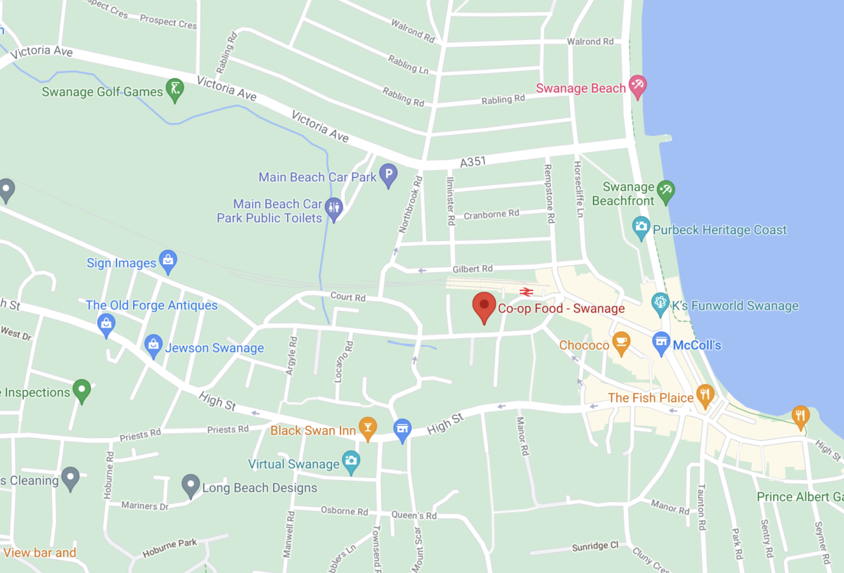 Google Maps showing the location of Swanage's Co-Operative store