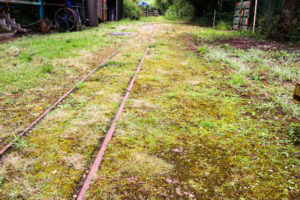 Narrow gauge railway track at the Purbeck Mining Museum at Norden
