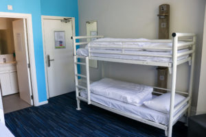 Bunk beds in a family, ensuite room at Swanage youth hostel