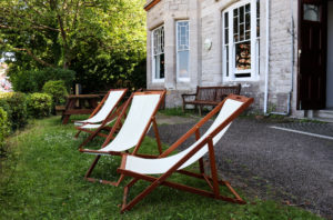 Deckchairs out the front of YHA Swanage